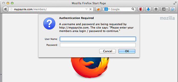 Simple HTTP Authentication Box in Firefox